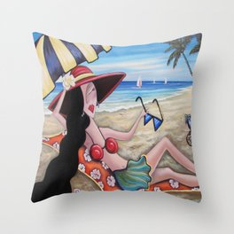 Snobby Susan enjoys the beach Throw Pillow