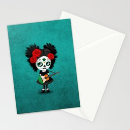 Day of the Dead Girl Playing Irish Flag Guitar Stationery Cards