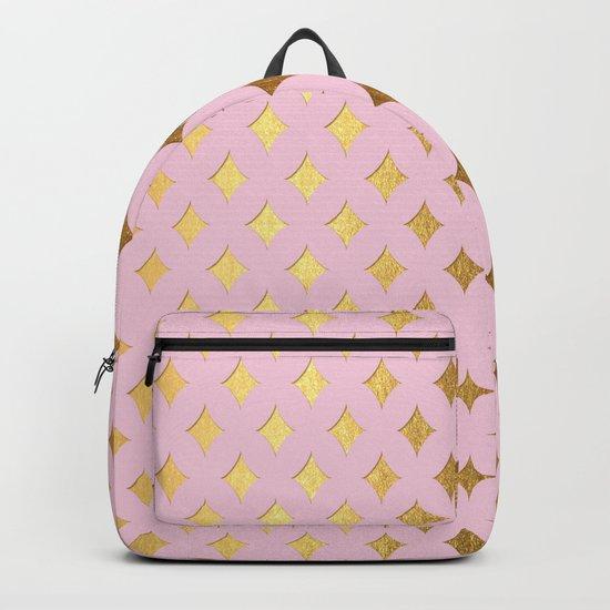 Queenlike- pink and gold elegant quatrefoil ornament pattern Backpack