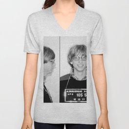 Bill Gates Mugshot 1977 Black & White Unisex V-Neck