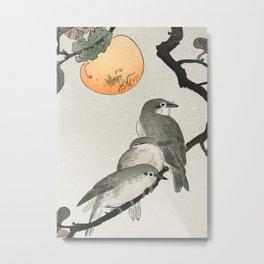 Ohara Koson, Birds Sitting On Kaki Tree - Japanese Vintage Woodblock Print Metal Print
