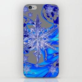 MODERN ROYAL BLUE WINTER SNOWFLAKES GREY ART iPhone Skin
