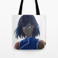 the legend of korra Tote Bags featuring Korra by Nymre