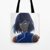 korra Tote Bags featuring Korra by Nymre