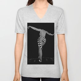 0489s-MM BW Zebra Striped Art Nude Figure Curves Unisex V-Neck