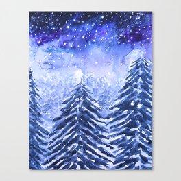 pine forest under galaxy Canvas Print