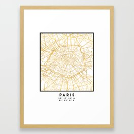 PARIS FRANCE CITY STREET MAP ART Framed Art Print
