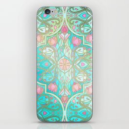 Floral Moroccan in Spring Pastels - Aqua, Pink, Mint & Peach iPhone Skin