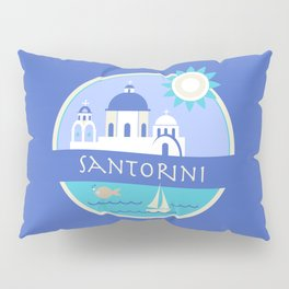 Santorini Greece Badge Pillow Sham