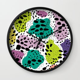 Modern abstract painted black polka dots fashion colors geometric shapes lavender lime Wall Clock