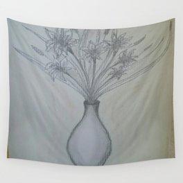 Vase Illustration Wall Tapestry
