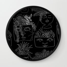Illustrated Plant Faces in Black Wall Clock