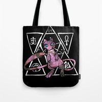 occult Tote Bags featuring Occult Mew by HiddenStash Art