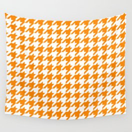 Orange: Houndstooth Checkered Pattern Wall Tapestry