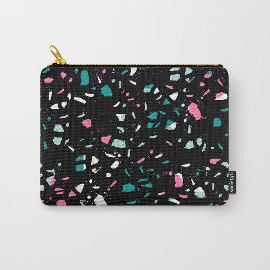 Terrazo black neon pattern trendy urban bklyn modern design paint splat pop art hipster gifts Carry-All Pouch