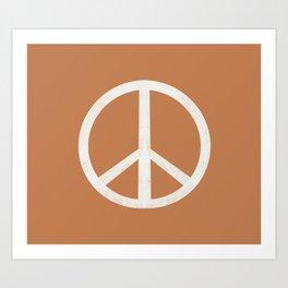 Peace sign - caramel, peace, peace sign, hippie, retro, trippy, surf summer boho art Art Print