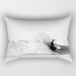 Surfer, Big Wave, Beach Wall Art, Black and White Photograph Rectangular Pillow
