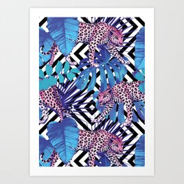 leopard in the blue jungle seamless pattern Art Print
