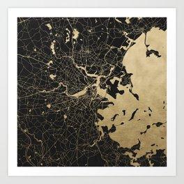 Boston Gold and Black Invert Art Print