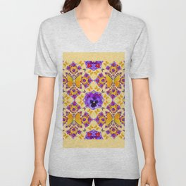 PURPLE PANSIES & GOLD  BUTTERFLIES KALEIDOSCOPE CREAM Unisex V-Neck