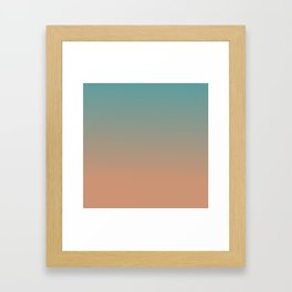 Cadet Blue and Antique Brass Ombre Framed Art Print
