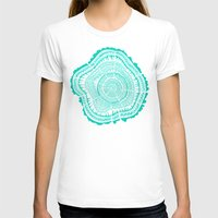 tree rings T-shirts featuring Turquoise Tree Rings by Cat Coquillette