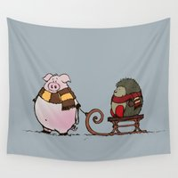 pig Wall Tapestries featuring Pig and hedgehog by mangulica illustrations