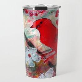 Red Bird Singing Travel Mug