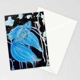 Blue Splatter Drip Betta Stationery Cards
