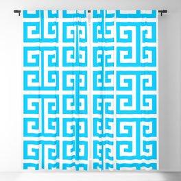 Large Aqua Blue Greek Key Pattern Blackout Curtain