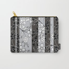 The floral pattern.Black and white.Striped background. Carry-All Pouch
