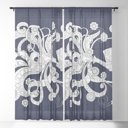 black floral doodle pattern with watering can Sheer Curtain