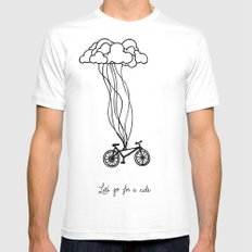 Let's go for a ride MEDIUM White Mens Fitted Tee