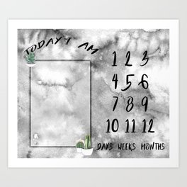 Water Cactus - Milestones by Day Month Year Art Print