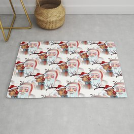 Watercolor Magical Santa Claus and Rudolf the The Red Nosed Reindeer Rug