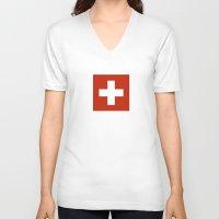 switzerland V-neck T-shirts featuring Switzerland country flag by tony tudor
