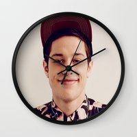 snl Wall Clocks featuring Flamingos by F*** Me Pete Davidson
