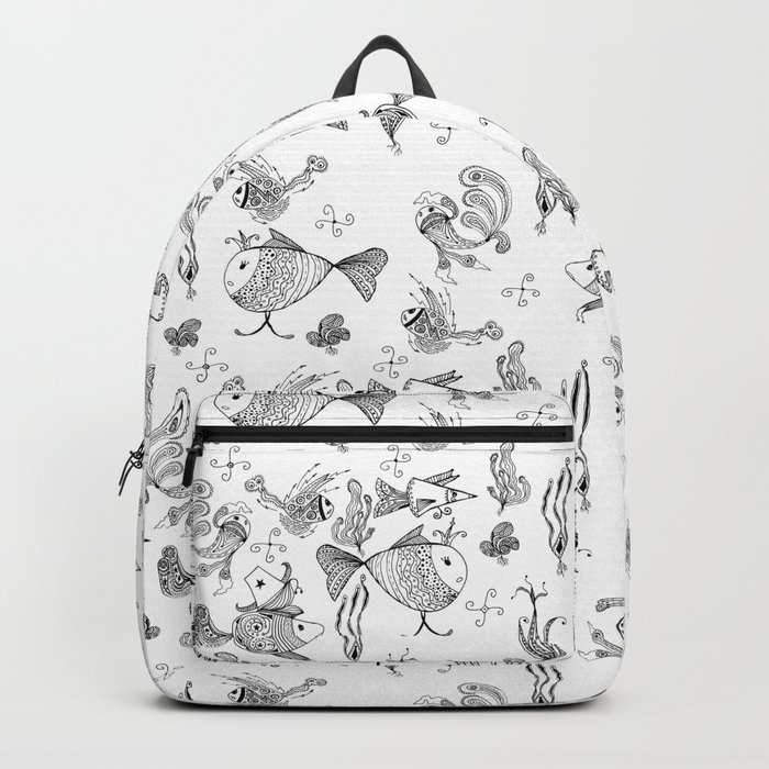 Seamless hand draw cartoon fairy fishes Backpack