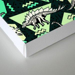 90's Dinosaur Skeleton Neon Pattern Canvas Print