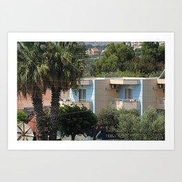 little blue greek house Art Print