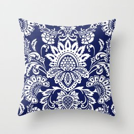 damask in white and blue Throw Pillow