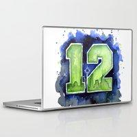 seahawks Laptop & iPad Skins featuring 12th Man Seahawks Seattle Go Hawks Art by Olechka