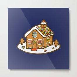 Gingerbread House Pattern - Christmas Eve Metal Print