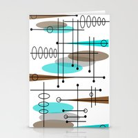 mid century modern Stationery Cards featuring Mid-Century Modern Atomic Inspired by Kippygirl