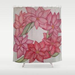 Christmas Pointsetta Wreath Shower Curtain