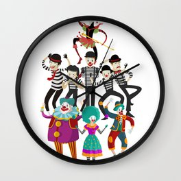 clowns and mimes Wall Clock