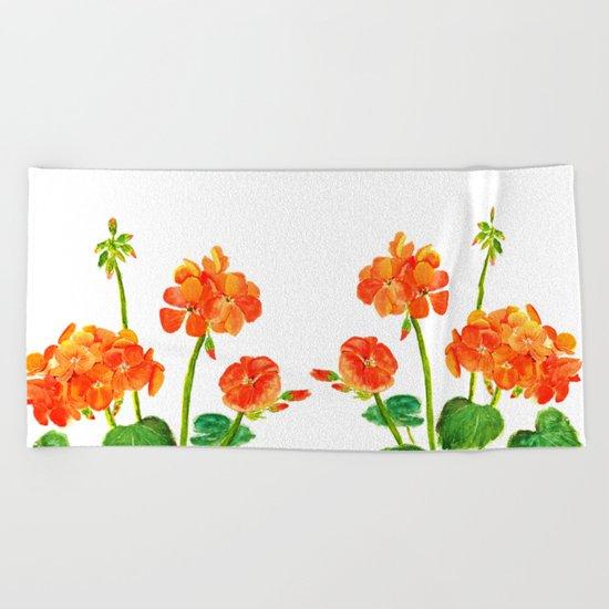 orange geranium Beach Towel