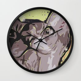 Cartoon style. Illustration with the evil cat. Wall Clock