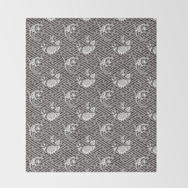 Black Chrysanthemum Auspicious Sayagata Japanese Kimono Pattern Throw Blanket