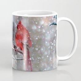Goldfinch and Cardinal at Feeder Coffee Mug